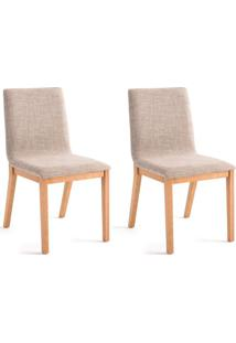 Conjunto Com 2 Cadeiras De Jantar Dora Lisa Dourado E Carvalho