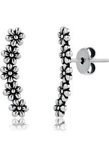 Brinco Ear Cuff Pequeno Com Cinco Flores Em Prata Envelhecida - 2180000001844