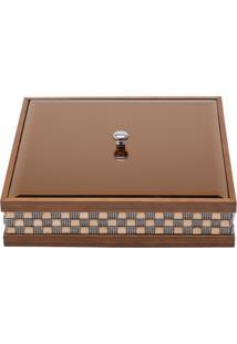 Porta Jóias Com Pedrinhas Woodart Madeira 26 X 26 Cm