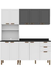 Cozinha Modulada 4 Peças Com Tampo E Nevada 5906Tp-Multimóveis - Branco Premium / Grafite Premium