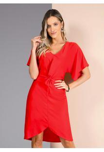 Vestido Vermelho Com Nó Na Frente