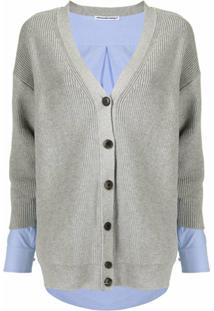 Alexander Wang V-Neck Layered Knitted Cardigan - Cinza