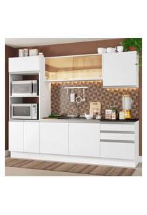Cozinha Completa Madesa 100% Mdf Acordes Com Armário E Balcáo Portas Branco Brilho (Sem Tampo E Pia) Branco