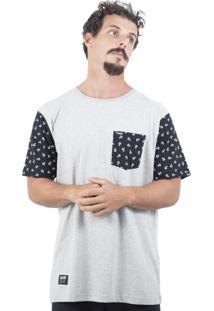 Camiseta Alfa Sleeve Âncora Cinza Mescla