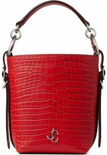 Jimmy Choo Red Crocodile-Effect Tote Bag - Vermelho