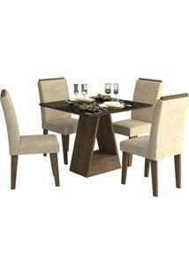 Sala De Jantar Alana 95 Cm Com 4 Cadeiras Marrocos/Preto Sued Bege