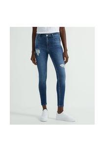 Calça Skinny Jeans Com Rebites Vermelhos No Bolso
