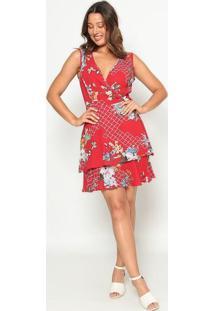 Vestido Texturizado Com Babados- Vermelho & Azul Claro