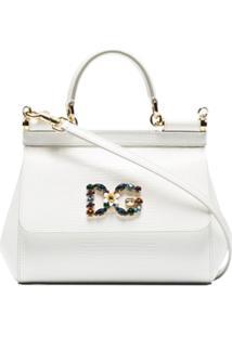 Dolce & Gabbana Bolsa Tiracolo Pequena 'Sicily' - Branco