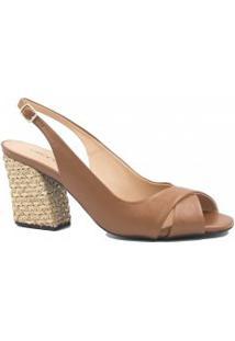 Sapato Cecconello Em Couro Salto Corda