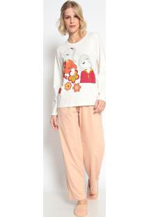 Pijama Manga Longa & Calã§A- Creme & Rosãªsonhart