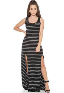 Vestido Feminino Listrado Com Fendas Preto