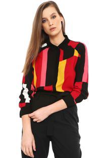 Camisa Lez A Lez Color Blocking Vermelha/Preta