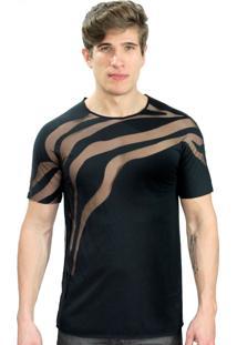 Camiseta Klauk Transparente Zebra Preto