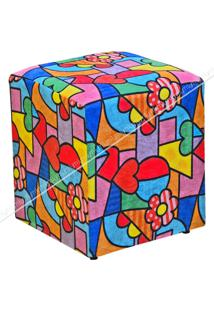 Puff Quadrado Decorativo Suede Estampado 429 Lymdecor Colorido