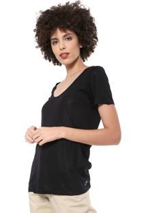 Camiseta Cantã£O Lisa Preta - Preto - Feminino - Viscose - Dafiti
