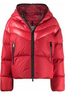 Moncler Contrast Padded Jacket With Logo Detailing - Vermelho