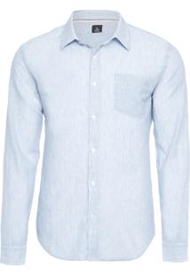 Camisa Masculina Striped Cotton Linen - Azul E Branco