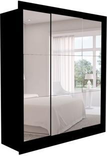 Guarda-Roupa Casal Com 3 Espelhos Luiza 3 Pt 2 Gv Preto 190 Cm