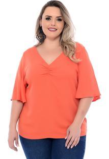 Blusa Plus Size Arimath Plus Laranja Decote Drapeado