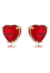 Brinco Soloyou Dourado Coração Vermelho De Zircônia 10 Mm Semijoia Em Ouro 18K