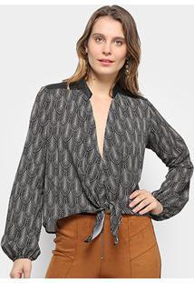 Camisa Acostamento Feminino Fashion Fem Ml Sb - Feminino-Preto