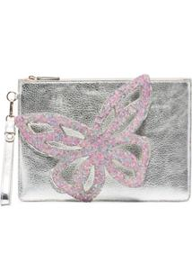 Sophia Webster Flossy Butterfly Clutch Bag - Prateado