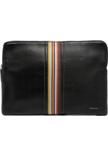 Paul Smith Clutch Com Listras E Fita De Gorgorão - Preto