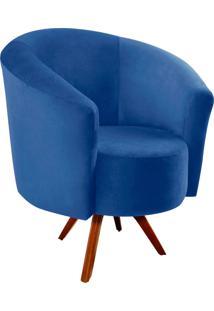 Poltrona D'Rossi Decorativa Angel Suede Azul Royal Com Base Giratória Madeira