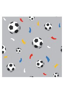 Papel De Parede Cinza Bolas De Futebol E Confete 57X270Cm