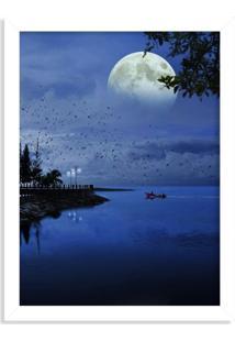 Quadro Decorativo Noite De Lua Cheia No Lago Branco - Médio
