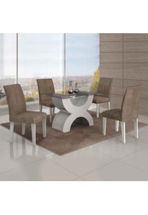 Conjunto De Mesa Com 4 Cadeiras Olímpia Suede Amassado Branco E Capuccino