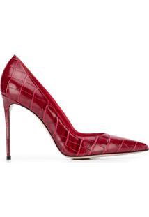 Le Silla Sapato Bico Fino Com Efeito Pele De Crocodilo - Vermelho