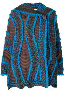 Issey Miyake Jaqueta Oversized Com Textura - Azul