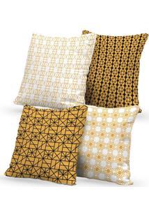 Kit 4 Capas De Almofadas Decorativas Own Geométricas White 45X45 - Somente Capa