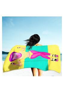 Toalha De Praia / Banho Funny Lady Pink Lips Único