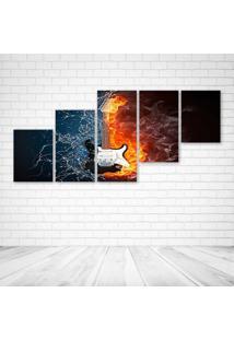 Quadro Decorativo - Guitar Ice And Fire - Composto De 5 Quadros - Multicolorido - Dafiti