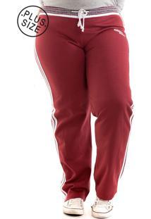 Calça Konciny Moletom Konciny Plus Size Vermelha