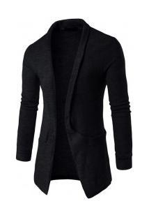 Cardigan Masculino Slim Com Design Bolso Lateral - Preto