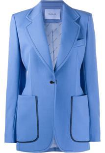 Mugler Blazer Slim Com Abotoamento Simples - Azul