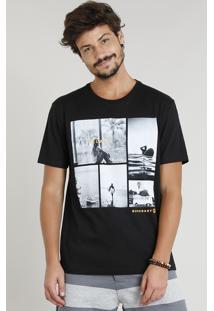 "Camiseta Masculina ""Relax"" Manga Curta Gola Careca Preta"