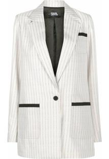 Karl Lagerfeld College Pinstripe Blazer Jacket - Cinza