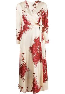 813 Vestido Envelope Com Estampa Floral De Seda - Neutro