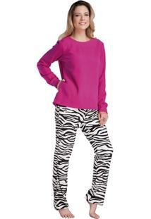 Pijama Longo Inspirate Animal Print Feminino - Feminino-Pink+Onça