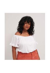 Blusa De Laise Ombro A Ombro Curve E Plus Size Branco