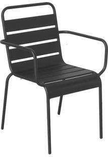 Cadeira Tropical Com Braços Preta