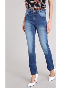 a89cef16c CEA. Calça Jeans Feminina Reta Cintura Alta Azul Médio