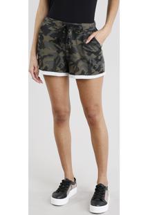 Short Feminino Estampado Camuflado Em Moletom Com Lace Up Verde Militar
