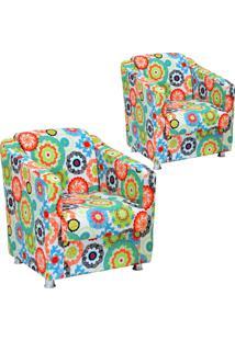Kit 02 Poltronas Decorativas Lymdecor Laura Tecido Impermeabilizado Floral Laranja
