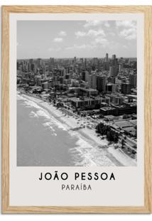 Quadro 65X45Cm Cidades João Pessoa Brasil Moldura Madeira Sem Vidro Decoratrivo